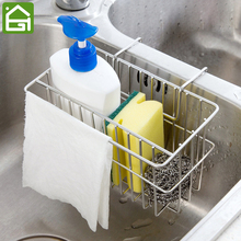 Stainless Steel Sink Shelf Soap Sponge Drain Rack Shelves Kitchen Hanging Storage Basket(China)