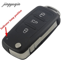 jingyuqin 3 Button Folding Remote Car Key Shell Case Flip Fob for VW for Polo Golf for MK6 for Tiguan Touareg 202AD 202H 202Q(China)