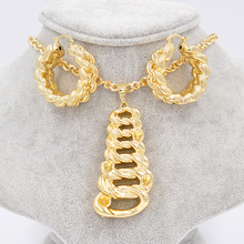 Sunny Jewelry Big Hoop Earrings Pendant Necklace Bridal Wedding Unique 2017 Copper Skeleton Ladder Hollow For Party Wedding Gift(China)