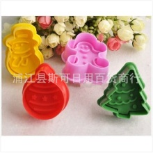 Fondant cake springs mold / baking mold mold 3D stereoscopic cartoon Christmas snowman biscuit  decorating cozinha plastic