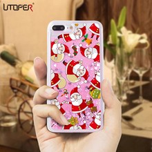UTOPER Christmas Gift Liquid Case For iPhone X Case Santa Claus Christmas Socks Capa For iPhone 5 5s SE 6 7 8 Plus Glitter Case(China)