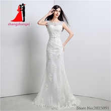 Buy New Stock White Plus Size Mermaid Lace Wedding Dresses 2017 Sexy Wedding Party Dress Belt Vestido de noiva Long Prom Gown for $73.79 in AliExpress store