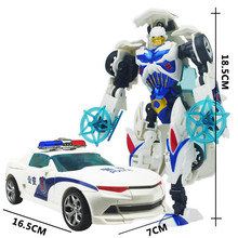 Top Sale White Car New Arrival 18.5cm Big Classic Transformation Education Plastic Robot White Cars Toy Wholesale for kids gifts