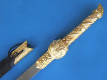 S4704 MOVIE SEVEN SWORDS GOLD SWIMMING DRAGON FINE RELIEF HANDLE W/ STAND 43.5""