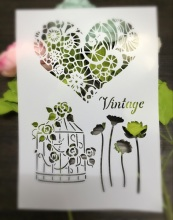 vintage Birdcage Heart Leaves Scrapbooking tool card DIY album masking spray painted template laser drawing stencils 7031426