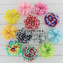 "Babymatch 40pcs/lot 3.2"" Ballerina Flowers Chiffon Chevron Silk Flowers Boutique Decoration Flower Girls Dresses For Wedding(China)"