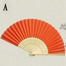 Summer Chinese Hand Paper Fans Pocket Folding Bamboo Fan Wedding Party Favor home decoration accessories