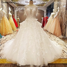 LS7080 princess style wedding dress beading crystal ball gown O neck short sleeves lace wedding gowns for bridal real photos(China)