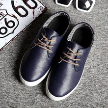 Fashion 2016 Spring Brand Men Casual Shoes Lace Up Pu Men Flats Shoes Casual Comfort Walking Shoes Flats
