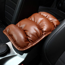Car Auto Armrests Cover Vehicle Center Console Arm Rest Seat Box Pad Protective Case Soft PU Mats Cushion Universal Black Brown