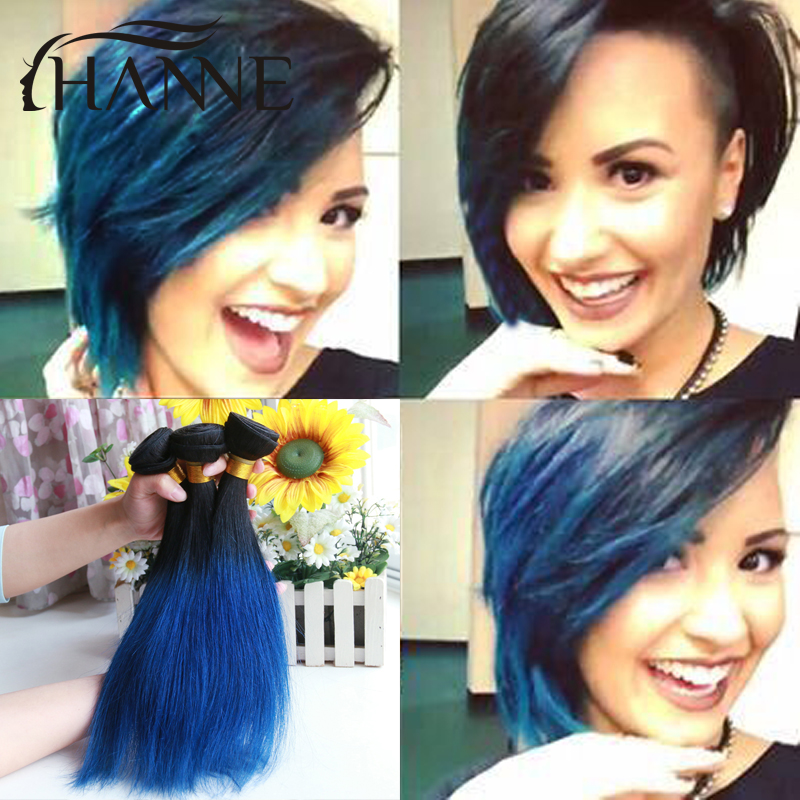 Malaysian straight blue human hair 3 pcs/lot remy hair blue ombre weave 2 tone ombre blue bundles Bob Weaving Style Extension<br><br>Aliexpress
