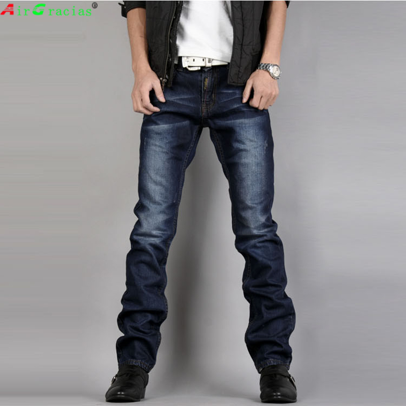 AirGracias Brand Jeans Men High Quality Navy Blue Denim Biker Straight Jeans Classic Pants Trousers Size 28-40Îäåæäà è àêñåññóàðû<br><br>