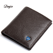 DANJUE Men Wallets 100% Genuine Leather Brand Mini Purse Durable High Quality Small Money Wallet Holder