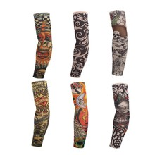 Elastic Tattoo Sleeve 1Pcs Riding UV Care Nylon Stretchy Arm Stockings 24 Colors To Choose Outdoor Fake Temporary Tattoo Sleeves(China)