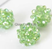 25 pcs handmade hand-knitted light green Transparent quartz crystal Beads ball 20mm for jewelry making glitte quartz beads(China)