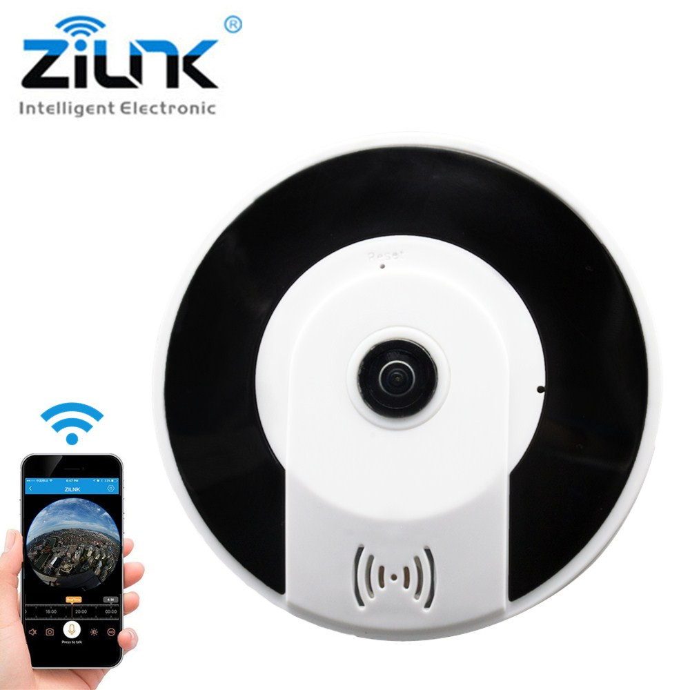 ZILNK 2.0MP HD IP Camera 360 Fisheye Panoramic VR Cam Wireless WIFI Ntework Surveillance Security CCTV Camera V380 View<br>