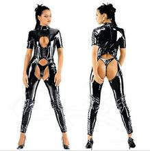 Buy open Crotch catsuit faux latex jumpsuit short sleeves zipper back,wetlook pvc leather overalls bodysuits party costume