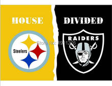 3X5 FT Pittsburgh Steelers VS Oakland Raiders flag 100D polyester digital printed banner with metal Grommets(China)