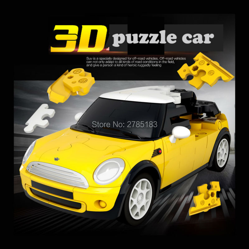 1/32 Blocks model Cars,3D DIY puzzles Car Plastic Model Kit Building Blocks Set, Children Funny Vehicle Blocks Toy 8 Styles(China)