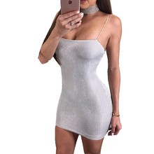 New Arrive Sexy Women Summer Silver Dress Strappy Sleeveless Slim Bandage  Bodycon Party Cocktail Short Mini Dress f92bc8137c22