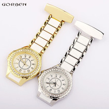 Paramedic Medical Fob Nurses Watches Brooch Stainless Steel Gold Silver Fashion Crystal Clip Pocket Clock Women Doctors' Gifts(China)