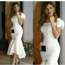 vestido de festa Strapless Off The Shoulder Stretch Satin White Arabic Evening Gowns Gorgeous Mermaid Style Long Evening Dress