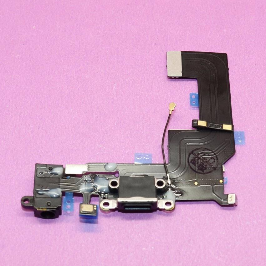YuXi Charging port flex cable for iphone 5s headphone Audio Jack USB port dock connector flex cable, Black.