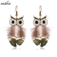 Green Brown Feather Pendant Drop Earrings For Women Owl Design Dangle Earring Valentine's Day HY-7389