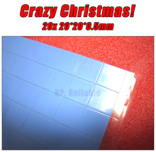 Promotion! 20x 20mm*20mm*0.5mm Soft Silicone Thermal Pads Mat for HP IBM Dell Asus Laptop VGA GPU Chips Heatsink Heat Transfer(China)