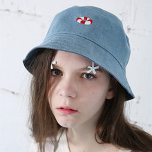 Autumn And Winter New Arrivals Women Denim Fabric Bucket Hats High Quality Custom Cartoon Embroidery unisex