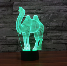 Creative Camel shape colorful 3D night light,Usb LED 3D illusion lamp desktop table lamp with touch switch toilet night light(China)