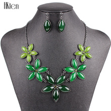 MS20502 Fashion Jewelry Sets Wedding Jewelry sets Gunmetal Plated Bright Spring Green Color Flower Design Free Shipping