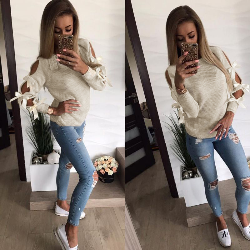 Fashion Women New Autumn Knitted Sweater Hollow Out Bowknot Round Neck Long Sleeve Casual Jumper Pullover Female Tops