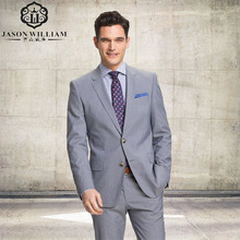 LN110 tuxedo for men business suits for groom wear light gray custom made suit dinner dress for wedding (Jacket+pants)
