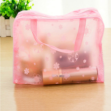 5 color waterproof PVC cosmetic vacuum bag women transparent organizer for Makeup pouch storage compression bags HE25
