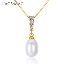 PAG&MAG 2017 New 8-9mm Drop Pearl Pendant 925 Sterling Silver Freshwater Pearl Pendant High Quality Brand Jewelry 18K Gold Color(China)
