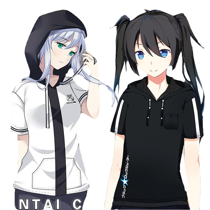 Japanese Anime Cosplay Costumes Hoodies Hooded T-shirt Short sleeve Unisex Student Cool BLACK ROCK SHOOTER BRS collection Gift