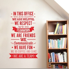 "Office Rules Wall Sticker  "" We Are A Team"" Increase Team Cohesion Inspiring Quotes Vinyl Wall Decal Sticker Office Decor"