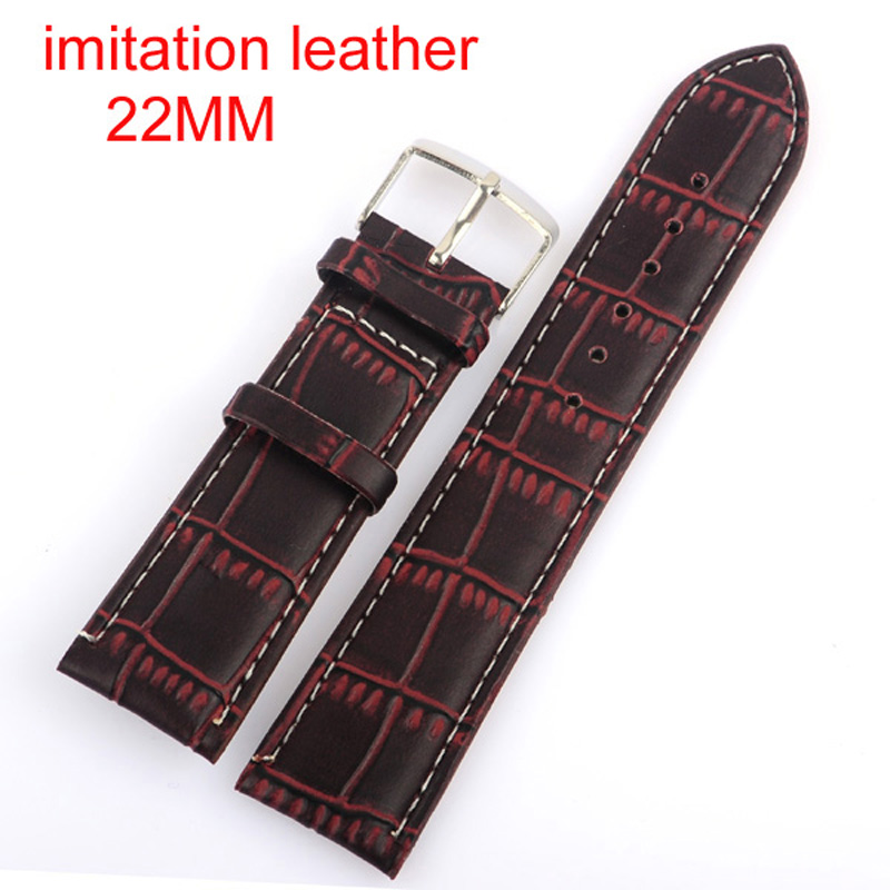 Retail--High Quality  Brown 22MM Imitation leather watchband with steel  buckle.  waterproof Straps, sport watch band<br><br>Aliexpress