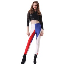 Digital PrintingElastic Casual Blue red white stripes pattern Women Leggings 7 sizes 2017 Fitness Clothing Free Shipping