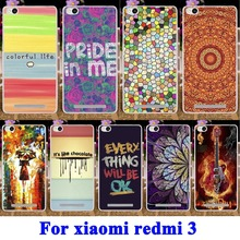 AKABEILA Soft TPU & Hard PC DIY Painted Phone Cases for Xiaomi Redmi 3 Cover Redmi3 Hongmi3 Hongmi 3 Mobile Phone Shell(China)