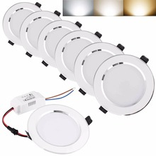 4Pcs/Set Led Downlight Ceiling Lamp Lighting AC85-265V 3W 5W 7W 9W 12W 15W 18W Super Bright LED Panel Light Warm/Cool/White
