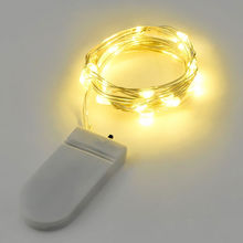 1pcs Copper Led Fairy Lights 2M 20 Leds CR2032 Button Battery Operated LED String Light Xmas Wedding party Decoration(China)