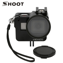 SHOOT CNC Aluminum Alloy Protective Case for GoPro HERO 5 Black Camera Cage Mount with 52mm UV Lens for GoPro Hero 5 Accessory(China)