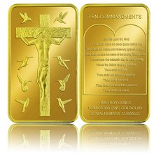 Replica Coins 24k 999.9 Gold Bar The Cross Desin European Gold Plated Bar for Gifts Commemorative Coin Collection(China)
