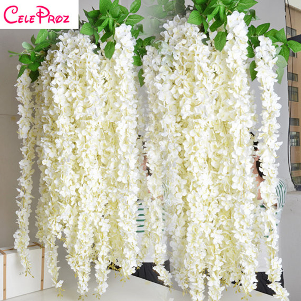 Lucia crafts 1piecelot 34cm artificial wisteria flower vine 1pc artificial wisteria rattan strip voilet flower vine rattan garland for diy wedding party home hanging izmirmasajfo