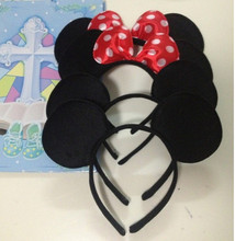 12pcs/Lot Minnie Mouse headband Children party Minnie Mouse Ears Baby Hair Accessories Red Bow kid birthday Girl Headwear(China)