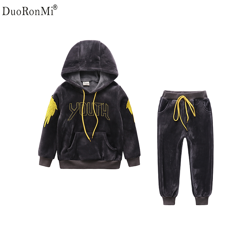Kids Clothes Boys Sports Suit Winter Warm Thicken Velvet Set Cartoon Hooded Pullovers+Pants Children Clothing Set 2pcs<br>