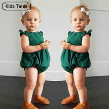New Green Gilrs Rompers children overalls girl sliders lace floral overalls for children children's clothing SR227