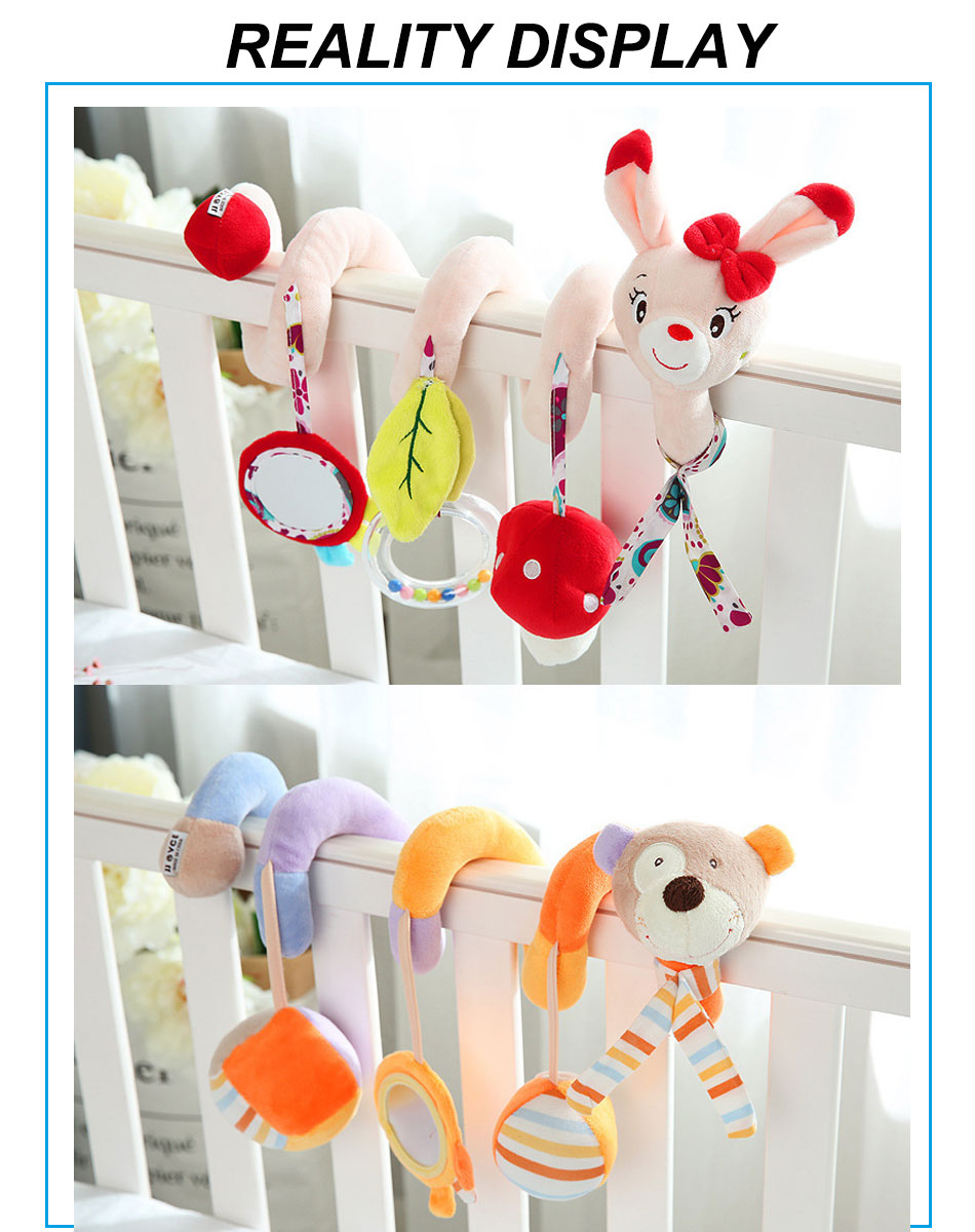 Infant baby toy activity spiral bed stroller bumper with BB device hanging crib rattle kids toys newborn juguete bebe animales 3